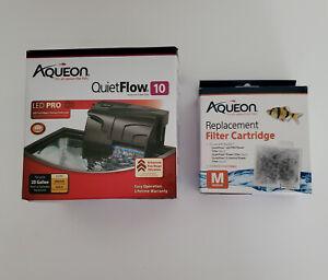 Aqueon - Quiet Flow 10 Aquarium Power Filter, W/ 3 Med Filter Cartridges 20 Gal