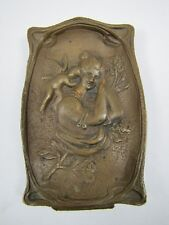 Antique Bronze LOVELY MAIDEN CHERUB FLOWERS Decorative Arts Tray Card Tip Ring