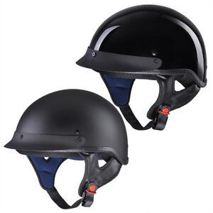Motorcycle Half Helmet DOT Open Face Chopper Cruiser Bike Skull Cap Size S-XL