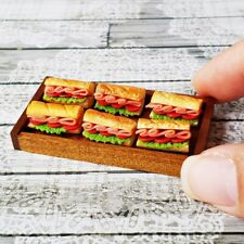 Dollhouse Miniatures Food Sandwich Burger Bakery Wood Tray Tiny Breakfast Supply