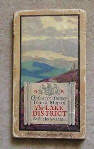 VINTAGE/ANTIQUE ORDNANCE SURVEY MAP~1 INCH TOURIST MAP~ LAKE DISTRICT PUB. 1924