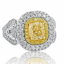 GIA Certified 2.60 Ct Yellow VS1 Cushion Diamond Engagement Ring 18k White Gold