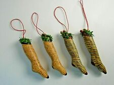 Set of 4 Vintage Wooden Striped Stocking Ornaments Christmas Holiday Bells