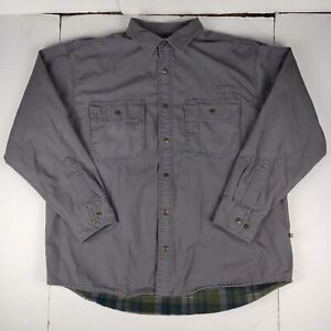Cabelas Roughneck mens Snap Button flannel Lined Insulated size xl gray jacket