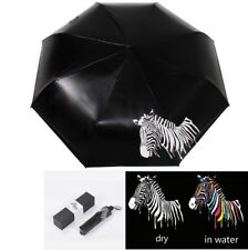 Creative Color Changing Zebra Pattern Ultraviolet-proof Foldable Black Umbrella