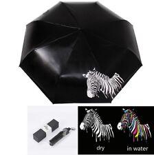 Creative Color Changing Zebra Pattern Ultraviolet-proof Foldable Black Umbrella