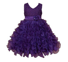 New Girls Purple Flower Girl Pageant Party Dress 6-7 Years