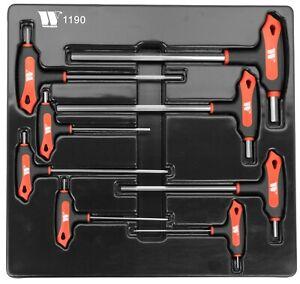 Welzh Werkzeug T Handle Hex Allen Key Wrench Set 8Pc 2-10mm (S2 STEEL) 1190-WW