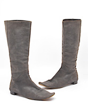 MARNI Distressed Gray Espresso Sueded Leather Knee High Flat Boots  Sz 36