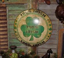 Primitive Vtg Style 100% Irish Shamrock Clover Dome Tin Metal Wall Sign