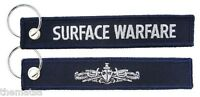NAVY SURFACE WARFARE ENLISTED SILVER EMBROIDERED FOB KEY CHAIN