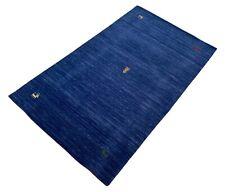 Gabbeh Teppich 90x160 cm Handgewebt 100% Wolle Blau Lori Buff Debbich Handloom