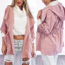 Fashion Pink Women Warm Hooded Long Coat Jacket Trench Windbreaker Parka Outwear