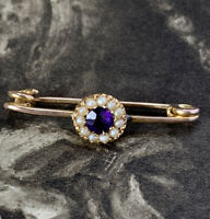 SMALL VICTORIAN 9CT GOLD SEED PEARL & AMETHYST BAR BROOCH, ANTIQUE PIN