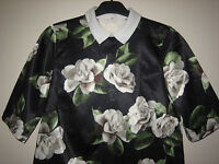 A LOVELY WOMENS RIVER ISLAND FLORAL DESIGN SIZE 10 SHORT SLEEVED TOP