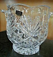 RARE Antique Noritake Full Lead Crystal handled scalloped ice bucket / bowl