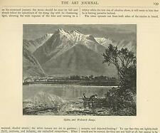 ANTIQUE UTAH WASATCH RANGE MOUNTAINS MEN ROW BOAT WATER REFLECTION SMALL PRINT