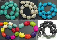 """Howlite Turquoise Gemstone 20mm x 30mm Buddha Head Spacer Connector Beads 16"""""""