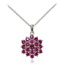 Sterling Silver Created Ruby Flower Necklace
