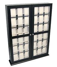 Uhrenvitrine Wand-Tischvitrine für 36 Uhren Massivholz matt schwarz Glas NEU