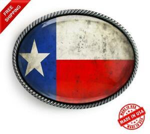 Texas Belt Buckle - State Flag Silver Handmade Western Rope Buckle - 626