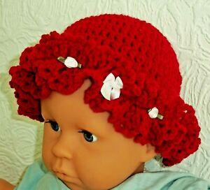 HANDMADE BABY CHRISTMAS XMAS HAT red brim cloche white satin rosebud bow romany