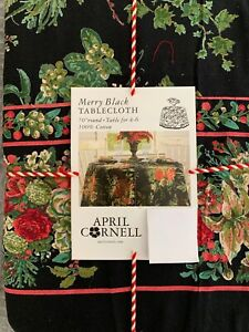 """APRIL CORNELL Christmas Merry Black 70"""" rd. cotton red  flowers tablecloth NEW"""