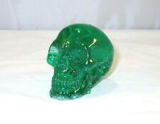 "Clear Acrylic Resin Human Skull Figurine 2"" Bright Green Handmade"
