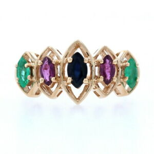 Sapphire, Ruby, & Emerald Ring - 14k Yellow Gold Marquise Brilliant .99ctw