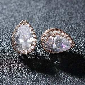18K Rose Gold Over Pear Solitaire Diamonds Halo Stud Earrings Bridal Gifts