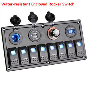 Blue LED 8 Gang ON-OFF Rocker Switch Panel 2 USB 12V/24V Car Boat Marine Truck