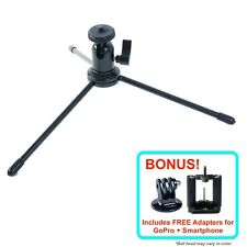 "9"" Metal Mini Tripod Foldable FREE GoPro Smartphone iPhone Adapter Photo Studio"