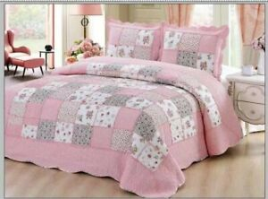 100% Cotton Coverlet / Bedspread Set Queen &  King Size Bed 230x250cm: