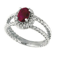 1.05 Carat Natural Oval Ruby & Diamond Ring 14K White Gold