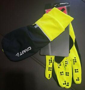 Craft Hybrid Weather Gloves - hi-vis Green/Black, Full Finger, X Large