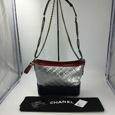 Chanel Gabrielle Med Hobo Bag Chain Crossbody Strap Blue Quilted Silver Red