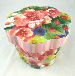 """PUNCH STUDIO~Fluted~IN BLOOM~5.5"""" W~SCALLOPED~Nesting~STORAGE~Gift Box~NEW!"""