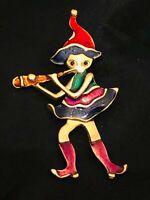 Vtg Elf Pied Piper Enamel Trembly Flute Gold GT Brooch Pin