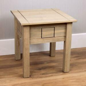 Panama Lamp Table Solid Waxed Pine Rustic Side Light Desk Furniture Unit