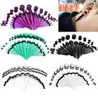 36x Gauges Acrylic Ear Tapers Stretcher Kit Screwed Tunnel Plugs Stretching Set