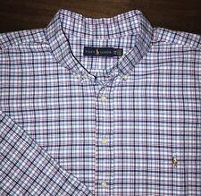 Ralph Lauren Polo Shirt Mens 2XB 2XL Big Plaid Blue Striped White Red Pony NEW