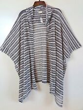 NWT Hollister Black White Hooded Open-Front Poncho Topper One Size