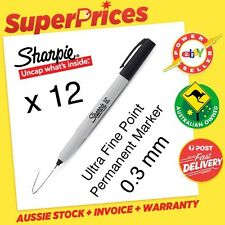 SHARPIE◉12 BLACK PERMANENT MARKER PEN◉ULTRA FINE◉0.3mm Tip POINT◉WATER RESISTANT