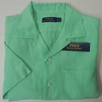 NWT $98 Polo Ralph Lauren SS Shirt LINEN & Silk Mens Green S L  Button NEW