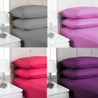 """100% Cotton Valence Fitted Sheets Single Double King for 9"""" to 16"""" Mattress"""