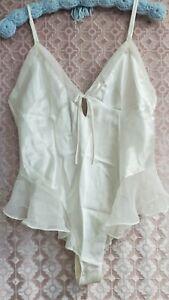 Victoria's Secret  Satin Teddy Romper BodySuit Snap Crotch White Lingerie sz L