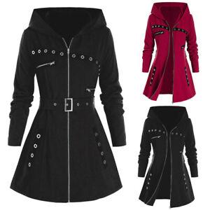 Womens Plus Size Hooded Parka Jacket Long Sleeve Trench Coat Winter Warm Outwear