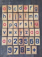 Vintage 1960's Wooden Alphabet and Numbers Blocks Painted - 40 TOTAL