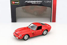 BURAGO 1:24 AUTO DIE CAST CAR FERRARI 250 GTO RACE & PLAY ROSSO RED ART 18-26018