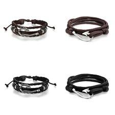 Ropes Bracelets Leather Cuff Bangle fo 4 Pieces Nautical Fish Hook Couple Nylon